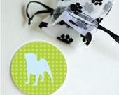 Dog Silhouette Pocket Mirrors or Magnets  Preppy With Pawprint Pattern Set of 1