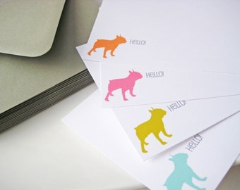 Dog Breed Silhouette Note Cards Personalized Set of 12