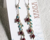 SALE-garnet and turquoise drop