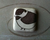 Chickadee Bird Drawing on Square Porcelain Pendant