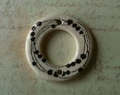 SALE: Porcelain Donut Ceramic Bead Two Holes with Lines and Dots Image