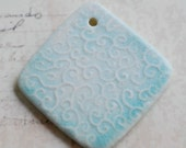 Ceramic Pendant Line Curls Texture in Porcelain Clay Diamond Shaped in Icy Blue Glacier Glaze