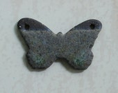 SALE: Handmade Butterfly Pendant Chocolate Clay Gray Green Blue Stone Glaze