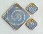 Spiral Pattern Ceramic Pendant Set in Blue Green Pale Opal Glaze