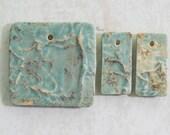 Nature Pressed Texture Ceramic Pendant Set in Pale Green Matte Glaze