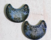 SALE: Spirals and Dots Crescent Moon Two Hole Porcelain Pendant Set  in OOAK Blue Green Glaze