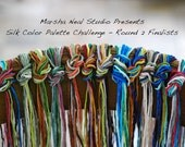 Special Listing Silk Ribbon Knot of Hand Painted You Pick The Color Palette of One Silk Knot Bundle for Ten 2mm Silk Ribbons