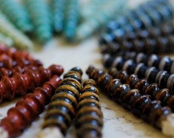Handmade Ceramic Beads Porcelain Clay Shards One Pair Custom Glaze Color
