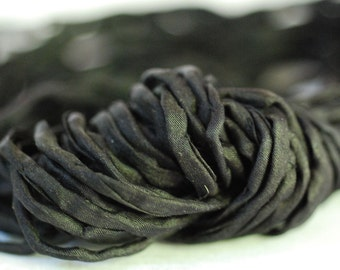 Hand Dyed Silk Ribbon - Silk Cord - DIY Crafts - Jewelry Supplies - Wrap Bracelet - Craft Supplies - 2mm Silk Cord Strands All Black Silks
