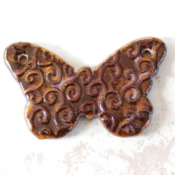 SALE: Handmade Porcelain Butterfly Pendant In Autumn Copper Brown Glaze