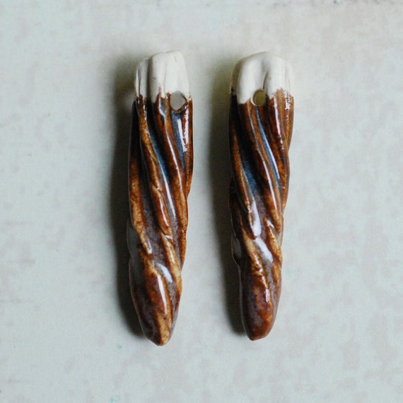 SALE Ceramic Clay Twirl Shards One Pair Brown and Copper Layered Glaze Color