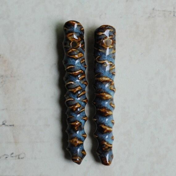Ceramic Jewelry Components Porcelain Clay Grid Shards in Dusty Denim Glaze