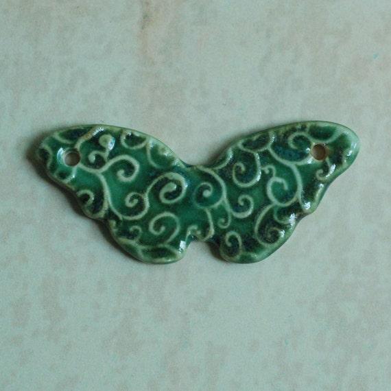 SALE Butterfly Ceramic Porcelain Pendant in Green Teal Blue Glaze
