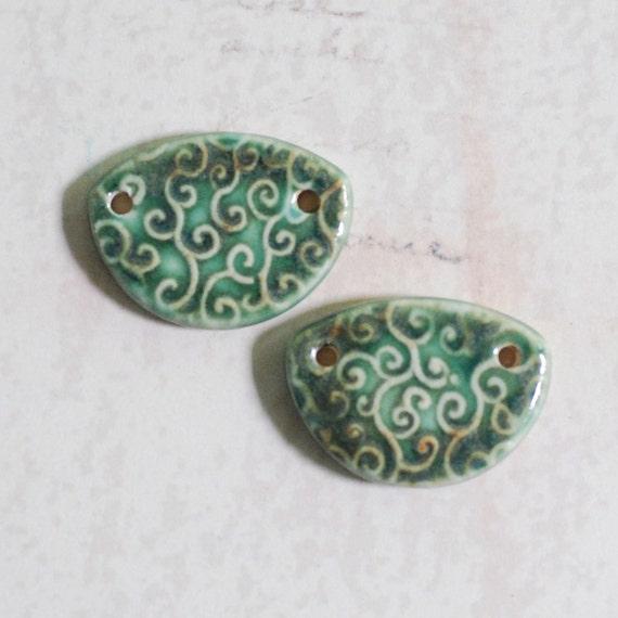 SALE Line Curls Part Round Two Hole Porcelain Pendant Set in OOAK Watery Green Blue Glaze