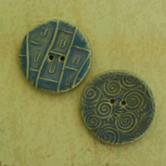 SALE: Ceramic Buttons Two Hole Porcelain Clay Blue Halo Glaze