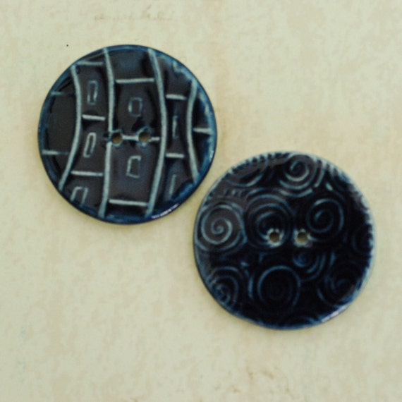 SALE: Ceramic Buttons Two Hole Porcelain Clay Royal Navy Blue Glaze