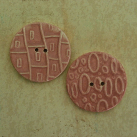 SALE: Ceramic Buttons Two Hole Porcelain Clay Muted Pink Glaze