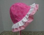 Double Ruffle SUNHAT for babies and toddlers, Pink Spring Summer Baby Girl Hat