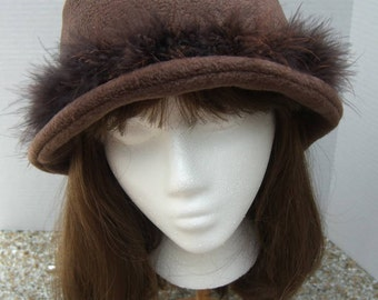Marabou Feather BUCKET HATS,  Women's Fall Winter Fleece Hat, available in many colors