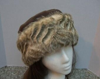 Soft Faux FUR HAT, Women's Fur Hat, Chocolate Brown Fleece and Faux Fur Hat, Cream/Dark Taupe Faux Fur Hat