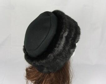 Rich Black Mink FAUX FUR HAT Pillbox Style, Women's Winter Fur Hat, Black Fur Hat