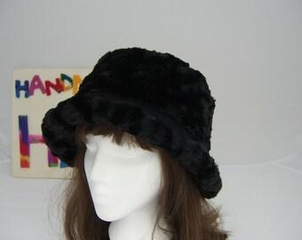 ROSE MINKY Adult Bucket HAT, rich black minky flop hat, Women's Fleece Hat