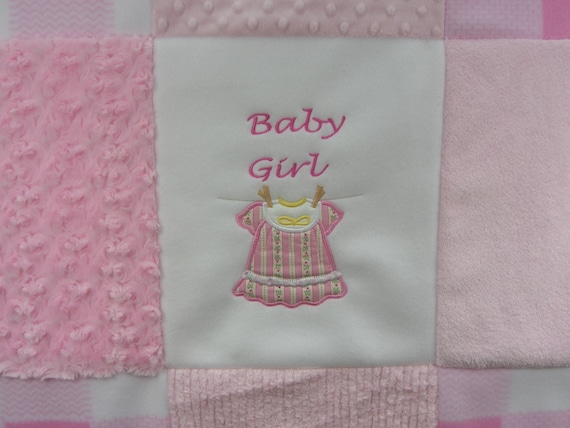 Baby Patchwork Quilt, Baby Girl Blanket, Minky Chenille Fleece Embroidered Quilt