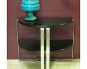HOLD jeanieprice Vintage Art Deco Black Lacquer & Chrome Strap Half Moon Side Table 2 Tier-Howell
