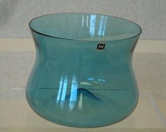 Norway Hadeland Glassverks Retro 1970s Vintage Blue Hand Blown Glass Bowl