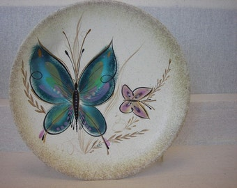 Butterfly Wall Hung Platter\/Signed Vintage Mid Century Modern Decorative Gold and Teal