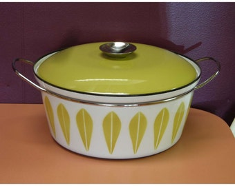 Catherineholm Large Dutch Oven Lotus Pattern Yellow/green Vintage Danish Modern