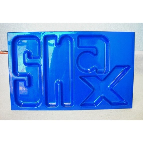 1970s SNAX Tray  Dark blue Plastic  Recessed Letters Vintage Retro
