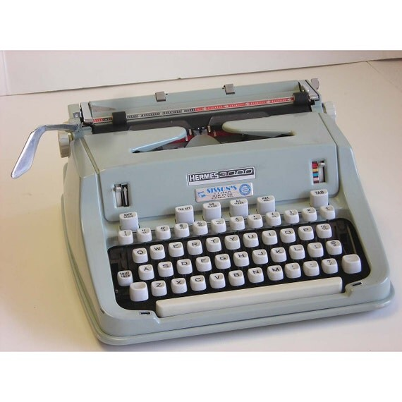 HOLD stevieK216 Vintage Hermes 3000 Portable Typewriter 1970s Swiss Made Instructions Case Included Works