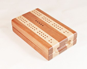 Compact Travel Cribbage - Black Cherry and Hard Maple