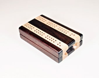 Compact Travel Cribbage - Peruvian Walnut and Maple