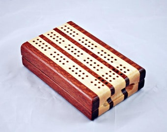 3 Track Travel Cribbage - Leopardwood and Maple