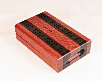 Compact Travel Cribbage - Leopardwood & Wenge