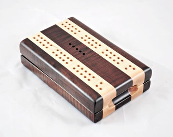 Compact Travel Cribbage - Roasted Curly Soft Maple & Curly Soft Maple