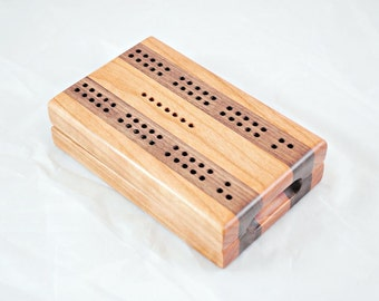 Compact Travel Cribbage - Black Cherry and Black Walnut