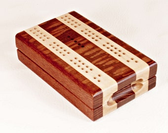 Compact Travel Cribbage - Leopardwood and Maple