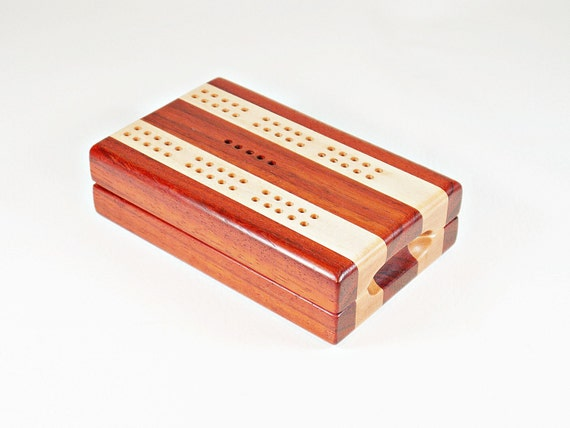Compact Cribbage Boards - Padauk and Hard Maple