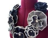 Recycled Denim Flower Necklace by Mademoiselle Mermaid