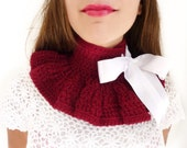Neck Warmer in Scarlet Red - Crochet Collar by by Mademoiselle Mermaid - Lots of Colors