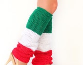 Leg Warmers in Red, White, and Green - Mexico or Italy Flag Leggings - Christmas Legwear