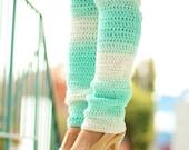 Mint Ombre Leg Warmers - Thigh High Leggings