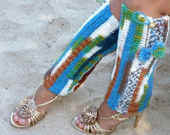 Hello Traveler Leg Warmers with Pom Poms - Multi Colored