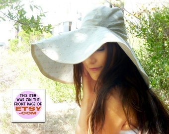 Sun Hat with Wide Brim - Women's Floppy Hats in White, Ivory, or Black Eyelet