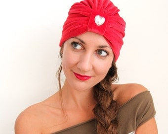 Fashion Turban in Red Velvet - Available in 24 Colors