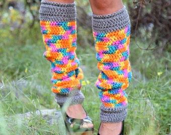 Crochet Leg Warmers in Neon Rainbow Print
