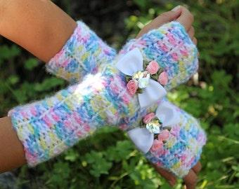 Long Fingerless Gloves- Elbow Length- Pastel Rainbow